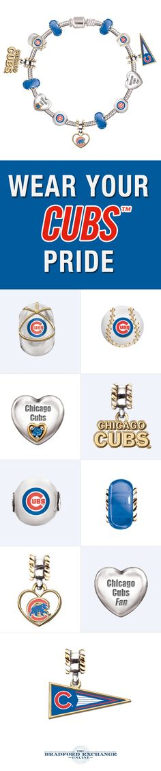 Now your Chicago Cubs will forever be charmed! Wear your support for you Cubbies in beautiful style with this 13-charm bracelet featuring team logos, colors and more. It arrives all put together and ready to wear!
