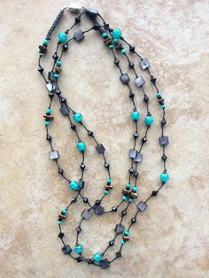 Black Stone Necklace Knotted Necklace Turquoise by FrancaandNen