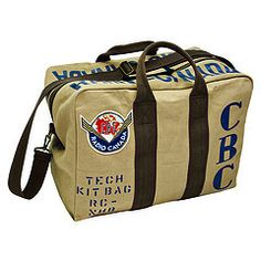 This stylish kit bag is made with rugged cotton twill, and its straps are made of heavy cotton webbing. Antique brass offers character to the zippers and detailing. With CBC screen-printed stencils and logo felt patch applique. Unique Gifts For Dad, Cool Gifts, Canadian Girls, Heritage Brands, My Guy, Duffel Bag, Purses, Retro, Kit