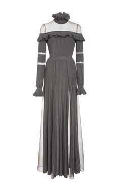 ELIE SAAB Ruffled Long Sleeve Knit Dress