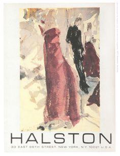 Advertisement for Halston's namesake boutique, 1977. Illustration done by Joe Eula.