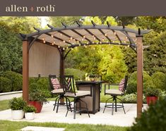 allen + roth W x L x Tan/Black Metal Freestanding Pergola with Canopy at Lowe's. It is a freestanding arched pergola, sling top, woodgrain post and tan color, its covers adjusts to provide shade on 2 sides. Diy Pergola, Pergola Canopy, Pergola With Roof, Wooden Pergola, Outdoor Pergola, Gazebo, Pergola Ideas, Curved Pergola, Small Pergola