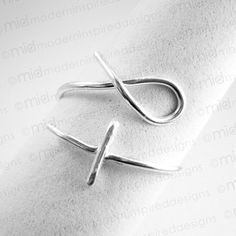 Modern Christian Ring - Fish Cross - Sterling Silver - 925 - Christian Jewelry - Wire Wrapped - Faith Jewelry - Adjustable Ring - Jesus