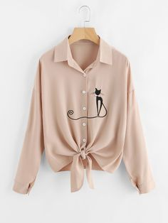 Cheap chemise femme, Buy Quality embroidery blouses women directly from China embroidery blouse Suppliers: Mikialong Autumn Cat Embroidery Blouse Women Casual Long Sleeve Striped Shirt White Yellow Blusas Femininas 2017 Chemise Femme Girls Fashion Clothes, Fall Fashion Outfits, Trendy Outfits, Striped Long Sleeve Shirt, Shirt Blouses, Shirts, Blouse Designs, Blouses For Women, Ideias Fashion
