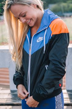 Inspired by the track. Worn on the street. A bold jacket with classic style. The Nike Windrunner. | More outfits like this on the Stylekick app! Download at http://app.stylekick.com