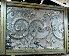 oohhh pretty tin ceiling panel, again for my DIY backsplash idea Tin Tiles, Tin Ceiling Tiles, Ceiling Panels, Shabby Chic Decor, Rustic Decor, Vintage Tins, Vintage Decor, Tile Crafts, Tin Art
