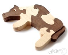 Wooden Puzzle Cow Wooden toys. Wooden Animal Puzzle. M215