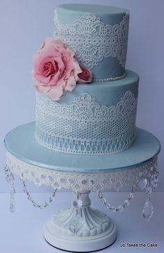Simple Lace and Rose - by JoTakestheCake @ CakesDecor.com - cake decorating website
