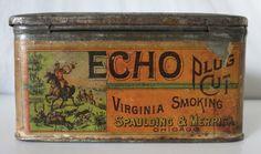 ECHO PLUG CUT RARE TOBACCO TIN, SPAULDING & MERRICK, CHICAGO, ILL. HUNTING SCENE