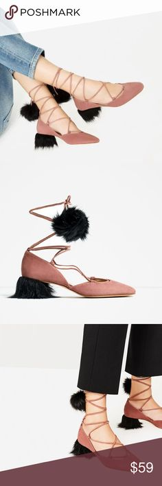 Zara suede lace up tasseled mid heel shoes Wow.. stand out shoes! Heel height very comfortable.... upper 80% goat leather, 20% polyester..... slipsole goat leather... euro size 37(6.5), 38(7.5) Zara Shoes