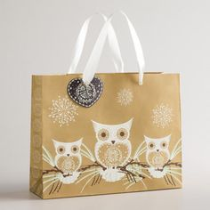 One of my favorite discoveries at WorldMarket.com: Medium Gold Three Owl Gift Bag