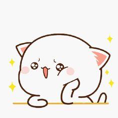 蜜桃猫 Cute Bear Drawings, Cute Cartoon Drawings, Bff Drawings, Cute Kawaii Drawings, Cute Cartoon Pictures, Cute Love Cartoons, Cute Images, Cute Anime Cat, Cute Cat Gif