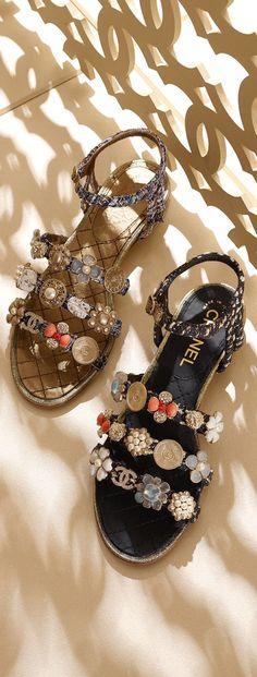 CHANEL Embellished sandals ✿⊱╮