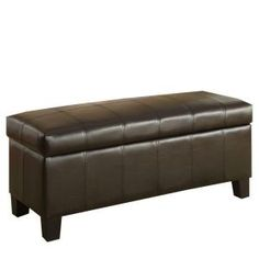 HomeSullivan Lift Top Storage Bench in Dark Brown Faux Leather-40471PU at The Home Depot  $124