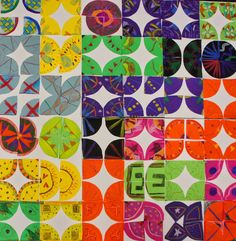 Quilt Pattern project:  Symmetry, repetition of line/shape/color -- Shine Brite Zamorano