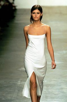 Calvin Klein | Spring 2000 Ready-to-Wear | 16 White strappy midi dress with front slit