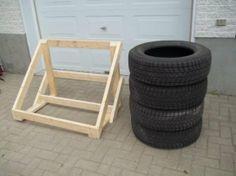 support de pneus en bois atelier rangement garage. Black Bedroom Furniture Sets. Home Design Ideas