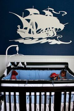 Tie your nautical themed nursery together with a ship wall decal. #wall #decal #nautical #baby #nursery #pinparty