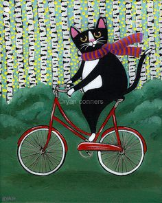 Kilkenny Cat Art | love fat cats on bicycles and with autumn upon us, this kitty ...