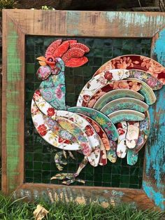 Rooster mosaic made from pieces of broken china. By Solange Piffer Mosaicos.Resultado de imagen para Mosaic dog by Solange PifferRooster mosaic using ceramic dinner platesRooster Mosaic Maybe basis for a quilt square?No automatic alt text available. Mosaic Animals, Mosaic Birds, Mosaic Wall Art, Tile Art, Mosaic Glass, Glass Art, Stained Glass, Mosaic Garden Art, Mosaic Artwork