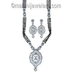 Diamond Exquisite Mangalsutra 18 Karat White Gold.