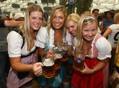 Drink Beer at Oktoberfest.   Oktoberfest: A 16-day, beer-slammin', polka music-filled festival that entices over five million people every year from late September through October in Munich, Germany! During this sacred period for beer drinkers the world over, over seven million liters of Oktoberfest Beer are guzzled.  There happens to be other, albeit smaller, Oktoberfest events held in Argentina (as National Beer Festival), Brazil, Canada, Ireland, Vietnam, and in numerous U.S. cities.