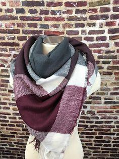 Burgundy and Gray Plaid Blanket Scarf – URBAN MAX LLC