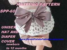 But with red or green ribbon for christmas    KNITTING Pattern hat and diaper cover spp60 by sweetpotatopatterns, $3.99