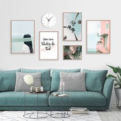 Nordic Poster Coconut Tree Wall Art Green Leaf Canvas Prints Blue Decor Unframed - Home deco - Before and After Living Room Designs, Living Room Decor, Bedroom Decor, Living Rooms, Living Room Canvas Art, Art For Living Room, Wall Art For Bedroom, Bedroom Prints Wall, Living Room Prints