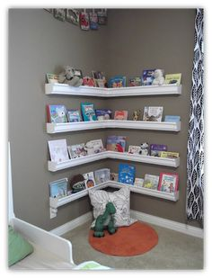 Reading corner shelving - also using gutters (approx $175 at Totem)