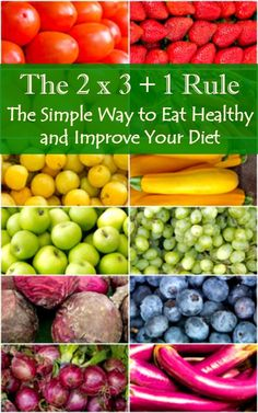 The 2 x 3 + 1 Rule - The simple way to eat healthy foods and improve your diet. Healthy eating | Healthy living | Diet advice | Healthy life