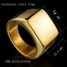 New Fine Jewelry High Polished Signet Solid Stainless Steel Ring Stainless Steel Biker Ring For Men's Jewelry