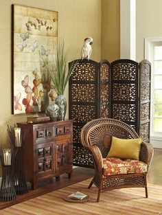 """This screen would be a great addition to my living room! """"@Pier Mallory 1 Imports: Mango perched on top of a Pier 1 Kota 4-Panel Screen"""""""