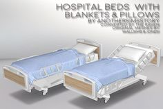 """anothersimsstory: """" Hospital Bed, Blankets, and Pillows. The Sims 2 to Sims 4 conversions of The Raven's Hospital Bed and Blankets. The hospital bed is in 3 versions: Flat, Up and 80 Degrees. Los Sims 4 Mods, Sims 4 Game Mods, My Sims, Sims Cc, Sims 4 Beds, Sims 4 Bedroom, Sims 4 Cc Kids Clothing, Casas The Sims 4, Sims Four"""
