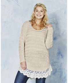 """""""Angel Ribbons"""" Angel Ribbons Casey Lace Trim Sweater at Simply Be"""