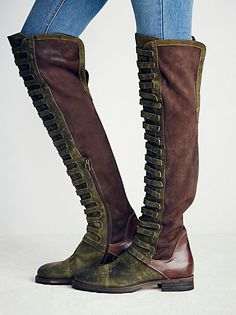 Renegade Otk Boot   Italian-crafted leather over-the-knee boots with square toes and platforms with statement ridges. Pull-on style.