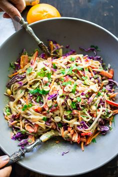 Thai Noodle Salad with Peanut Sauce- loaded up with healthy veggies and the BEST peanut sauce eeeeeeeeeever! Vegan & Gluten-Free   www.feastingathome.com