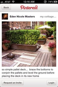 Pallet deck - love.   would be great for where we want to put the fire pit.