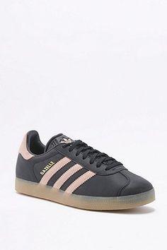 premium selection 6bc4c 9cd94 adidas Originals Gazelle Black and Pink Gumsole Trainers Black Leather  Trainers, Black Leather Shoes,