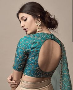 While selecting your desired bridal lehenga, don't forget to pick a stylish blouse design that will compliment your whole look. Indian Blouse Designs, Brocade Blouse Designs, Saree Jacket Designs, Blouse Designs High Neck, Choli Blouse Design, Fancy Blouse Designs, Designer Blouse Patterns, Bridal Blouse Designs, Floral Patterns