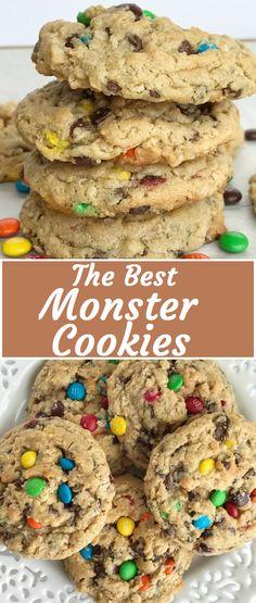 The Best Monster Cookies - Cookie Recipes Easy Cookie Recipes, Cookie Desserts, Just Desserts, Baking Recipes, Delicious Desserts, Dessert Recipes, Yummy Food, Gourmet Cookies, Cookie Favors