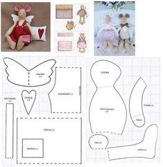 игрушка кукла Тильда ВЫКРОЙКИ Pet Mice, Fabric Dolls, Stuffed Animals, Stuffed Animal Patterns, Softies, Plushies, Crochet Mouse, Doll Patterns, Clothes Patterns