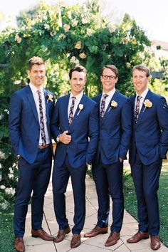 backyard garden wedding - groom and groomsmen blue suit, floral neckties - Summer Wedding Inspiration Groom And Groomsmen, Country Groomsmen, Blue Groomsmen Suits, Groomsmen Outfits, Groom Outfit, Blue Suits, Groomsman Attire, Mismatched Groomsmen, Groom Attire