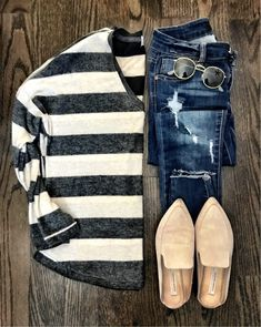 IG: @mrscasual | Stripe sweater, distressed jeans, and beige mules