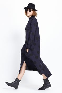 Y's by Yohji Yamamoto Polka Dot Shirtdress (Navy/ Black)