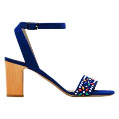 Tabitha Simmons Blue Gia Sandal ($725) ❤ liked on Polyvore featuring shoes, sandals, blue, ankle strap sandals, multi color sandals, ankle wrap shoes, block heel sandals en wrap around sandals