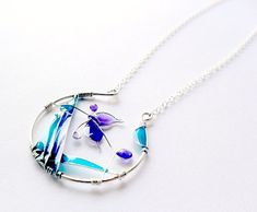 Sterling silver necklace purple turquoise wire by ThePurpleBalloon