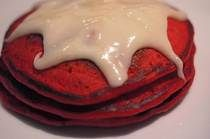 Red Velvet Pancakes form Duncan Hines Cake Mix with Cream Cheese glaze
