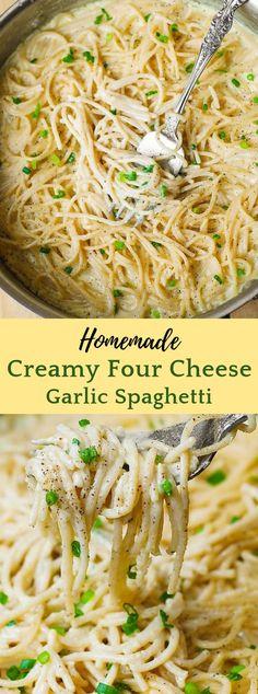 Pasta sauce recipes spaghetti new Ideas Easy Pasta Sauce, Cheese Sauce For Pasta, Pasta Sauce Recipes, Spaghetti Recipes, Garlic Spaghetti, Garlic White Sauce Pasta, White Spaghetti Recipe, Creamy Sauce For Pasta, Recipe Pasta