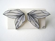 BLACK WHITE WING earrings // unique handdrawn by AnneTranholm